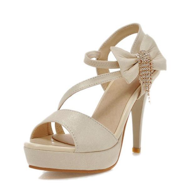 Vrouwen Kunstleer Stiletto Heel Sandalen Pumps Plateau Peep Toe Slingbacks met strik Tassel schoenen