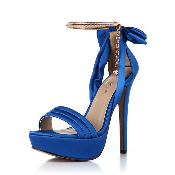 Donna Plastiche Tacco a spillo Sandalo Stiletto Punta aperta con Bowknot Catenina scarpe