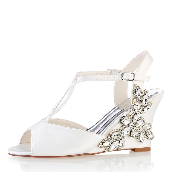 Women's Silk Like Satin Wedge Heel Peep Toe Pumps Sandals With Others