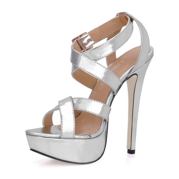 Frauen Lackleder Stöckel Absatz Sandalen Plateauschuh Slingpumps mit Schnalle Schuhe