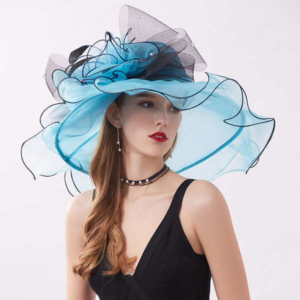 Ladies' Hottest/Romantic Organza With Flower Beach/Sun Hats/Kentucky Derby Hats/Tea Party Hats