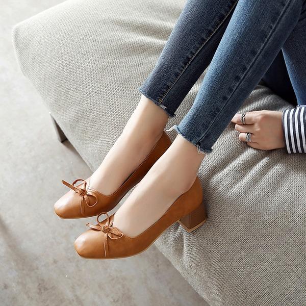 Mulheres PU Salto robusto Bombas Fechados com Bowknot sapatos