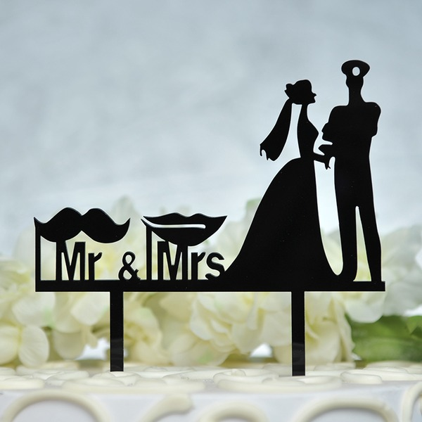 Heart/Mr. & Mrs. Acrylic Cake Topper