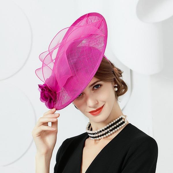 Dames Élégante Batiste avec Fleur en soie Disquettes Chapeau