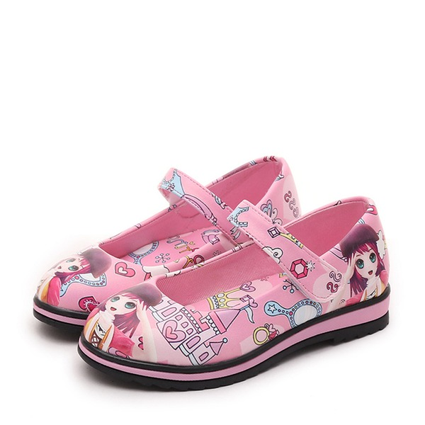 Jentas Round Toe Mary Jane Leather lav Heel Flate sko Flower Girl Shoes med Velcro