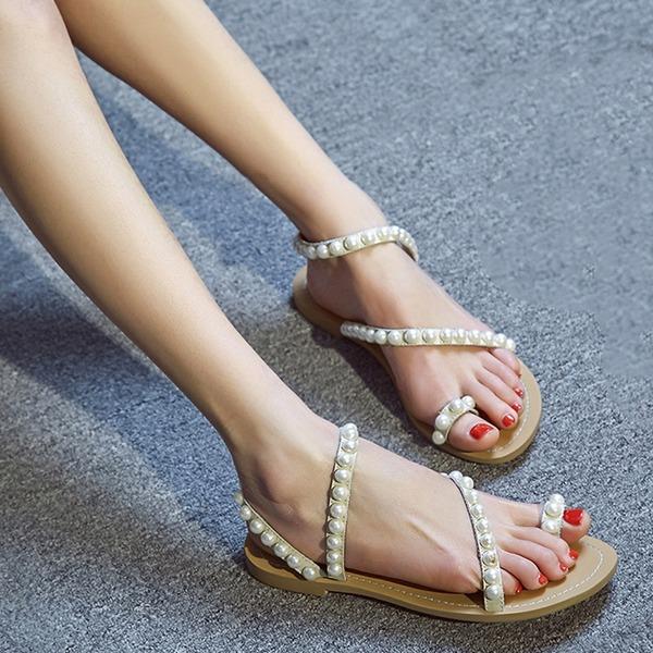 Femmes Vrai cuir Talon plat Sandales Chaussures plates À bout ouvert Escarpins avec Perle d'imitation chaussures