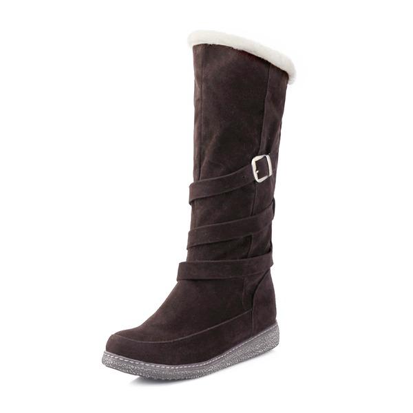 Mulheres Camurça Salto baixo Fechados Botas Botas na panturrilha Botas de neve com Fivela Pele sapatos