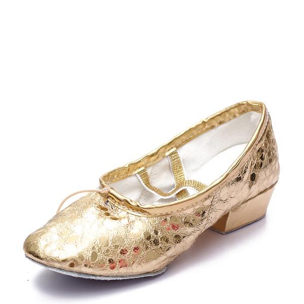 Mulheres Couro Sem salto Balé Dança do ventre Sapatos de dança