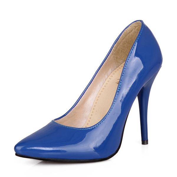 Mulheres Couro Brilhante Salto agulha Bombas Fechados sapatos
