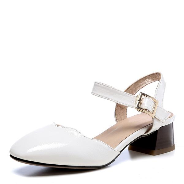 Vrouwen Kunstleer Chunky Heel Sandalen Closed Toe schoenen