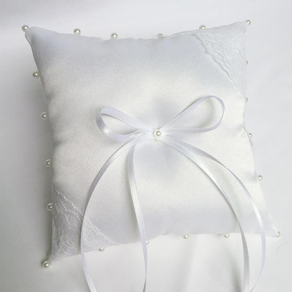 Klassische Art Ring Kissen in Stoff mit Bogen/Faux-Perlen/Lace