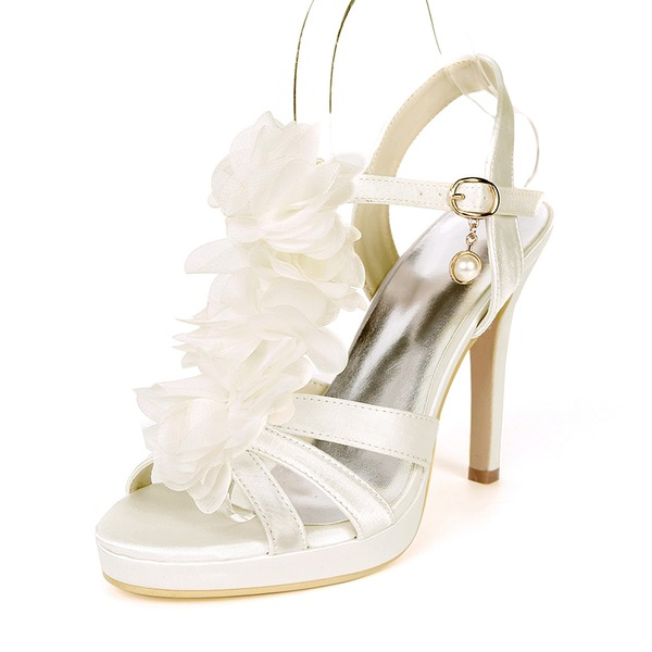Women's Silk Like Satin Stiletto Heel Platform Pumps Sandals With Satin Flower