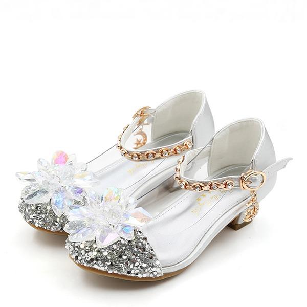 Mädchens Round Toe Geschlossene Zehe Leder funkelnden Glitter niedrige Ferse Flache Schuhe Blumenmädchen Schuhe mit Kristall
