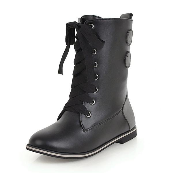 Kvinner Lær Flat Hæl Flate sko Støvler Mid Leggen Støvler med Blondér sko