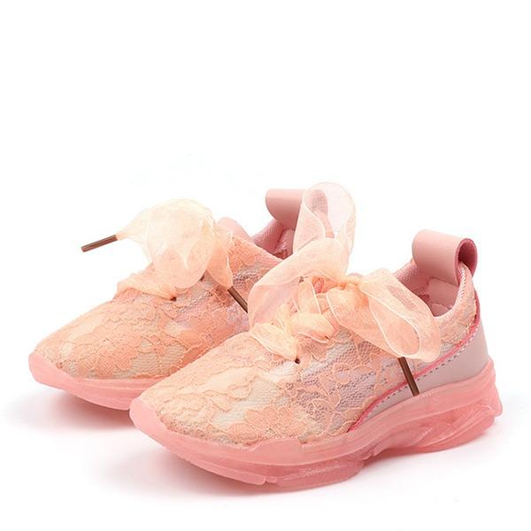tytön Round Toe Suljettu toe Mesh Flat Heel Matalakorkoiset Lenkkarit & urheilu Flower Girl Kengät jossa Stitching Lace