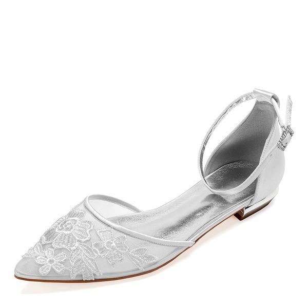 Femmes Dentelle Soie comme du satin Talon plat Chaussures plates Sandales avec Fleur en satin Une fleur