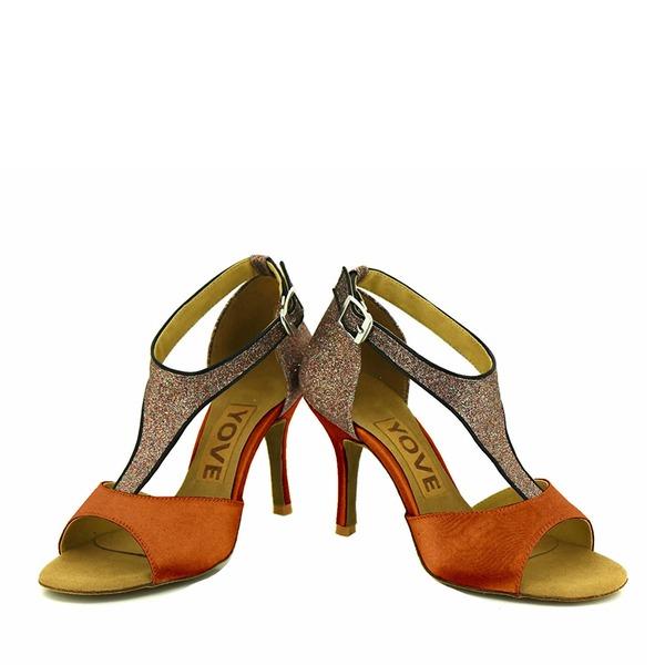 Donna Raso Glitter scintillanti Tacchi Latino con Fibbia Cava-out Scarpe da ballo