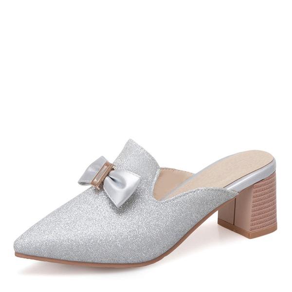 Kvinner Lær Stor Hæl Lukket Tå Tøfler med Bowknot Paljetter sko
