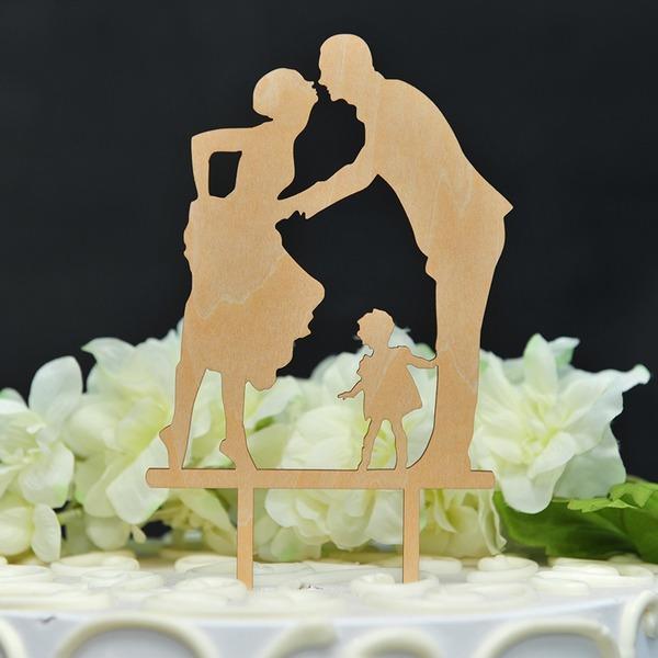 Classic/Tillykke med bryllupsdagen Træ Kage Topper