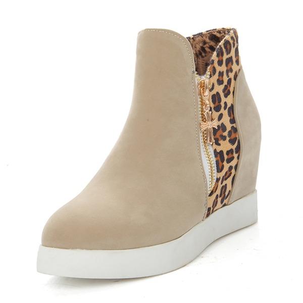 Frauen Veloursleder Flascher Absatz Stiefel mit Zweiteiliger Stoff Schuhe