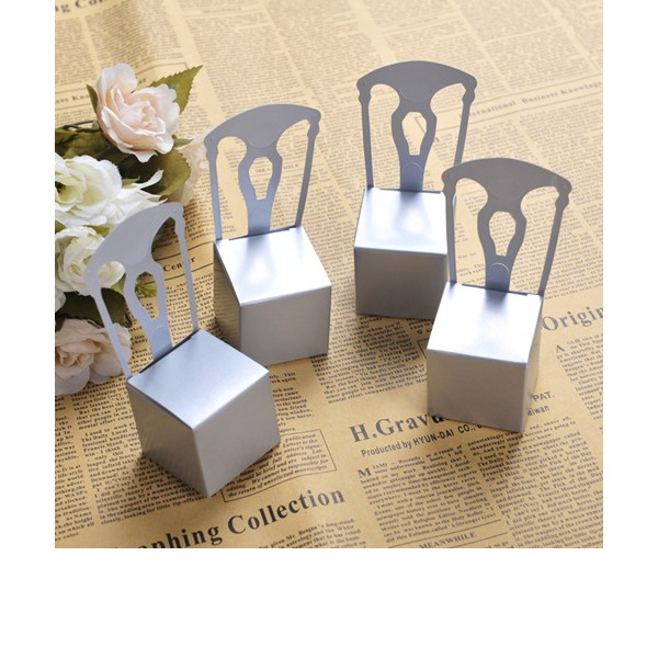 50th Anniversary Silver Chair Favor Box and Place Card Holder (Set of 12)