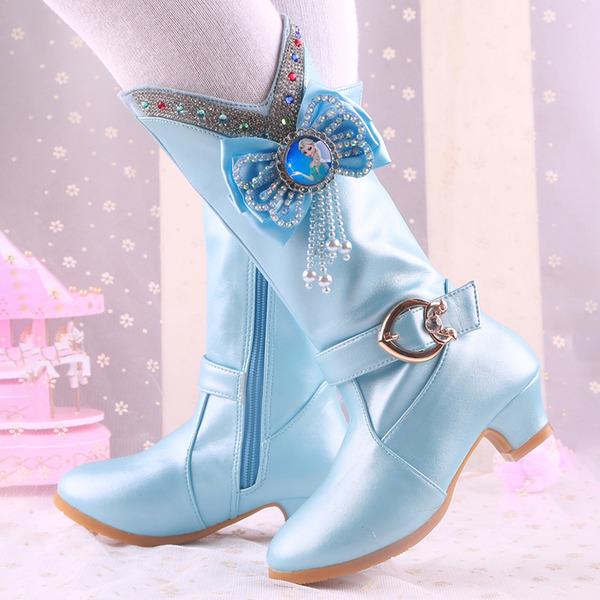 девичий Сапоги до середины голени дерматин Обувь для девочек с Цветок
