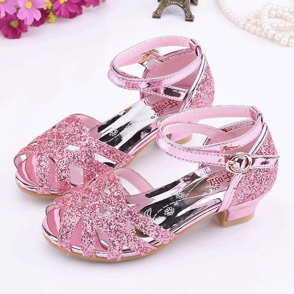 Girl's Peep Toe Leatherette Sparkling Glitter Low Heel Sandals Flower Girl Shoes