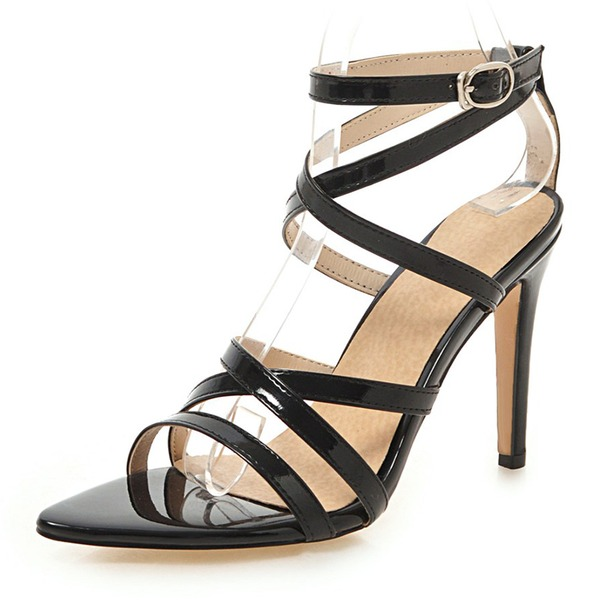 Women's Leatherette Stiletto Heel Sandals Pumps Peep Toe Slingbacks With Buckle Hollow-out shoes