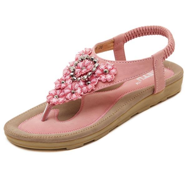 Frauen Kunstleder Flascher Absatz Sandalen mit Niete Blume Schuhe