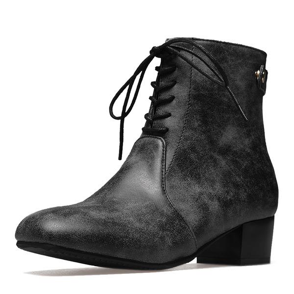 Frauen Kunstleder Niederiger Absatz Geschlossene Zehe Stiefel Stiefelette Stiefel-Wadenlang Martin Stiefel Reitstiefel mit Zuschnüren Schuhe