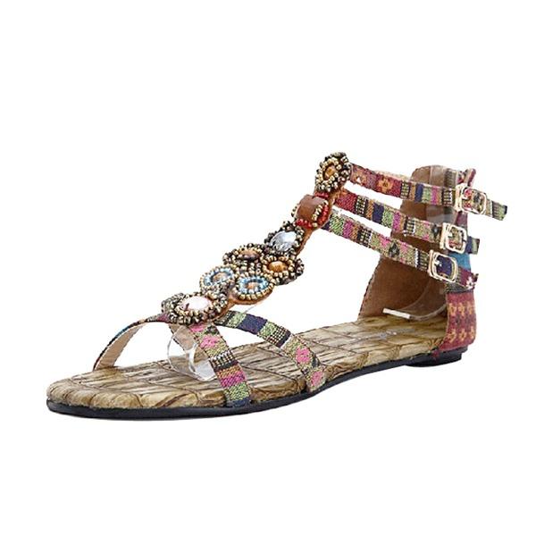 Duk Flat Heel Sandaler med Spänne skor