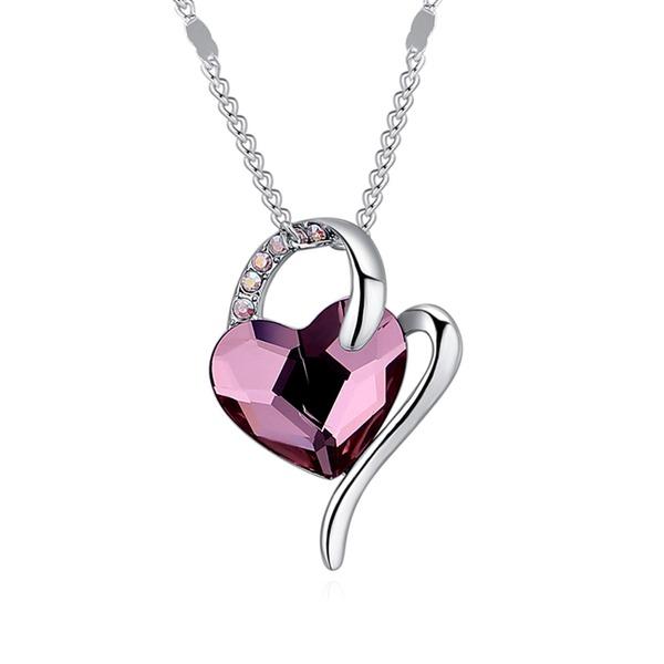 Hjerteformede Legering Crystal med Efterligning Crystal Kvinder Fashion Halskæde (Sælges i et enkelt stykke)
