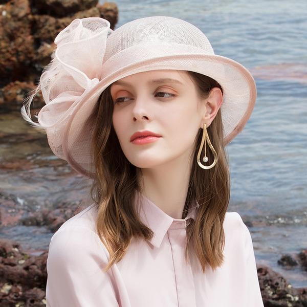 Damene ' Glamorøse/Klassisk stil/Elegant/Romantisk Cambric med Fjær Strand / Sol Hatter