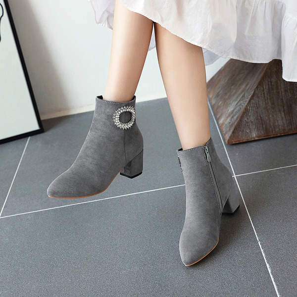 Women's Suede Chunky Heel Pumps Boots Ankle Boots With Crystal Zipper shoes
