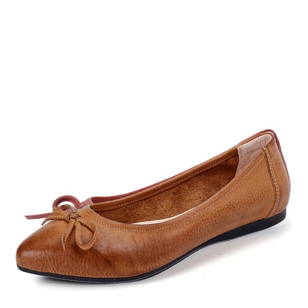 Women's Real Leather Flat Heel Flats Closed Toe With Bowknot shoes