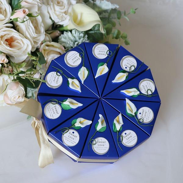 Fleurs souriantes Cubique Carte papier Boîtes cadeaux avec Fleur(s) (Lot de 10)