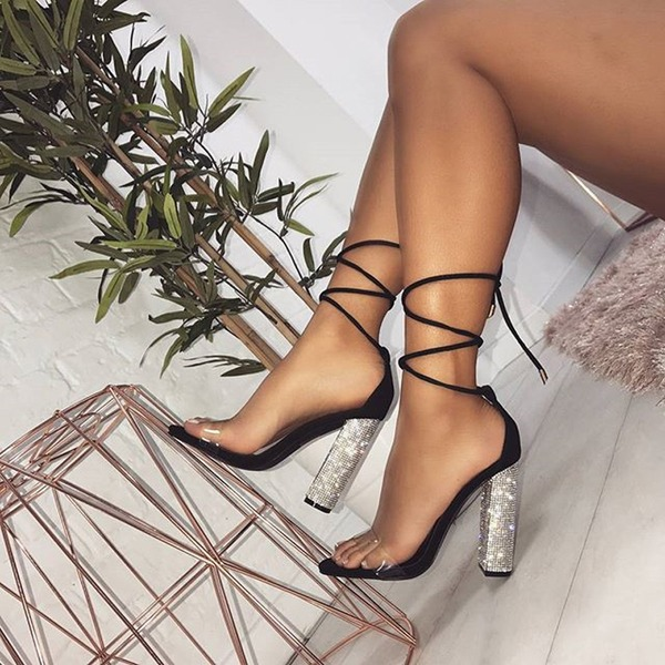 Женщины кожа Устойчивый каблук Сандалии На каблуках с Шнуровка обувь