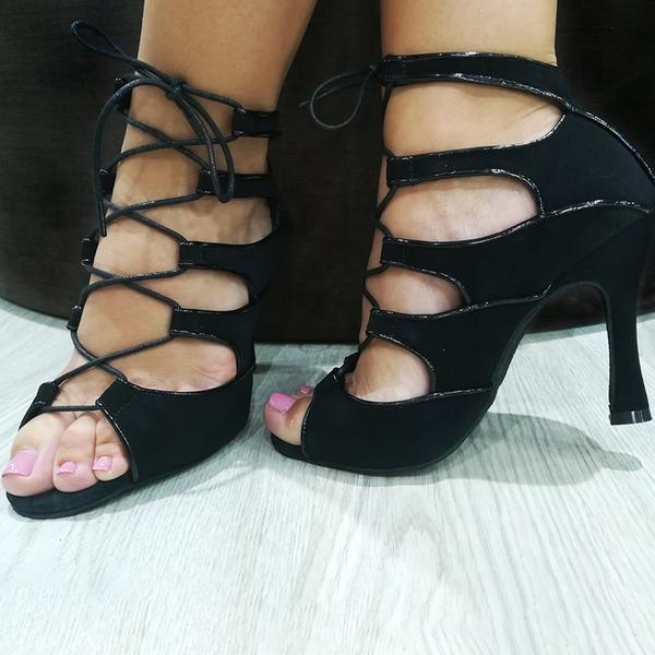Mulheres Couro Saltos Swing com Oca-out Aplicação de renda Sapatos de dança