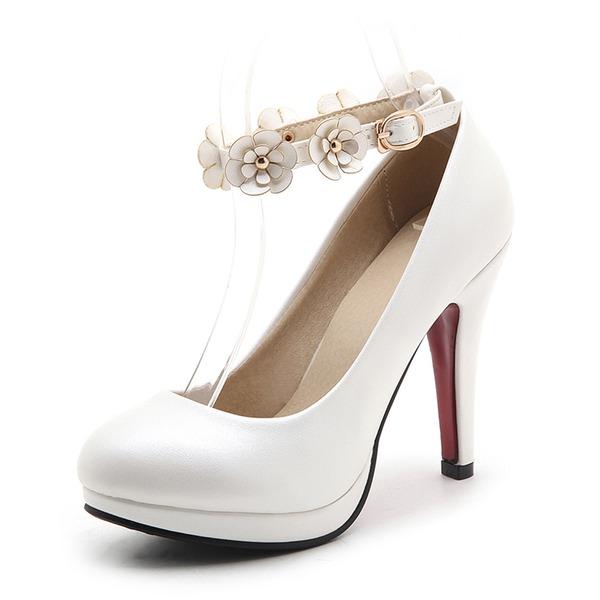 Frauen Kunstleder Stöckel Absatz Absatzschuhe Plateauschuh Geschlossene Zehe mit Applikationen Schuhe