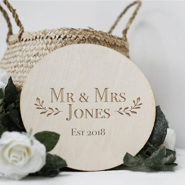 Klassiek Ronde Houten Wedding Sign