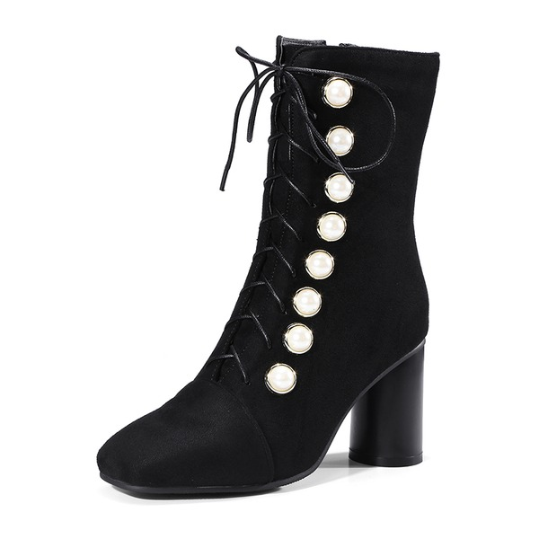 Women's Suede Chunky Heel Pumps Boots Mid-Calf Boots With Imitation Pearl Lace-up Button shoes