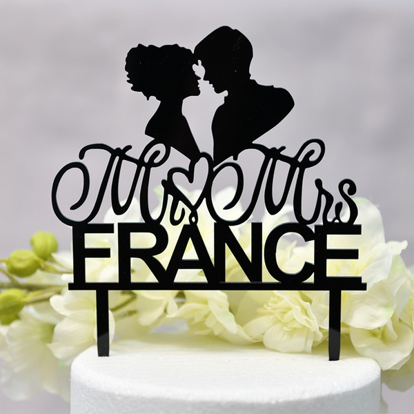 personnalisé Amour doux/Mr & Mrs Acrylique Décoration pour gâteaux (Vendu dans une seule pièce)