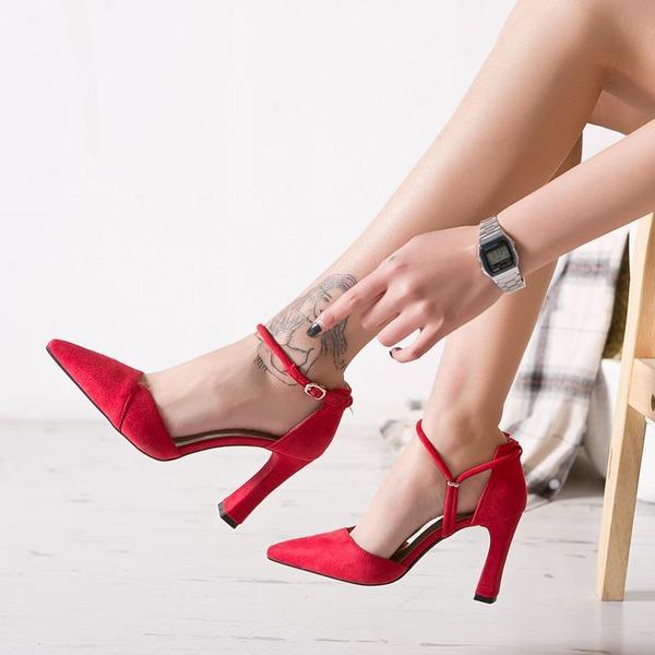 Donna Camoscio Tacco spesso Stiletto Punta chiusa con Allacciato scarpe