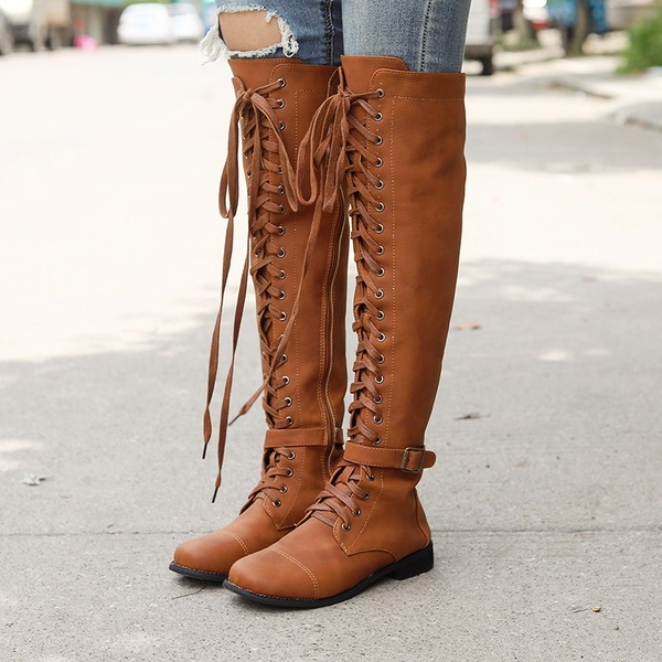 Kadın PU Düz Topuk Bot Ile Bağcıklı ayakkabı