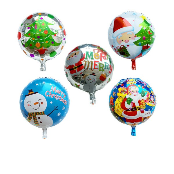 5pcs/set Mixed Color - 18inch - Round Shaped Christmas Party Balloons