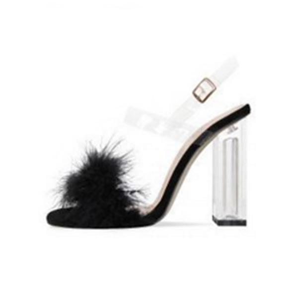 Kadın Süet İnce Topuk Sandalet Pompalar Peep Toe Ile Toka ayakkabı