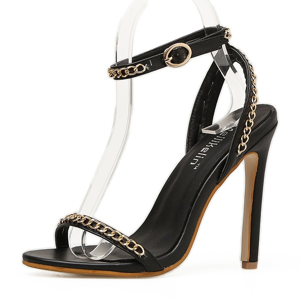 Vrouwen PU Stiletto Heel Sandalen Pumps Peep Toe Slingbacks met Keten schoenen