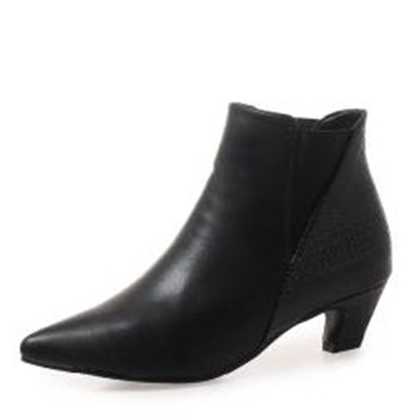 Women's PU Low Heel Boots Ankle Boots With Split Joint shoes