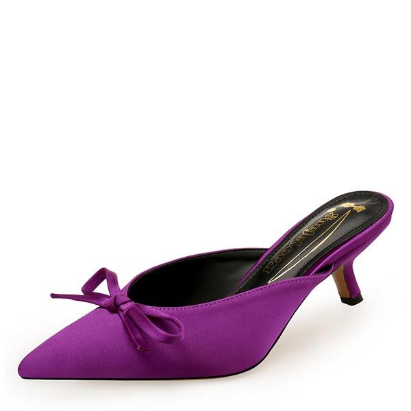 Vrouwen zijde als satijn Kitten Hak Pumps Closed Toe Slingbacks met strik schoenen