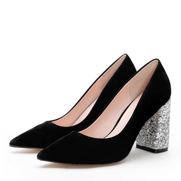 Vrouwen Suede Chunky Heel Pumps Closed Toe schoenen
